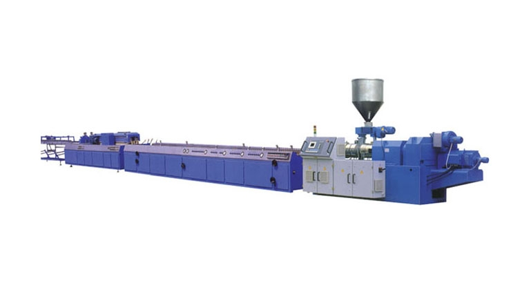 Double screw plastic wood profile production line