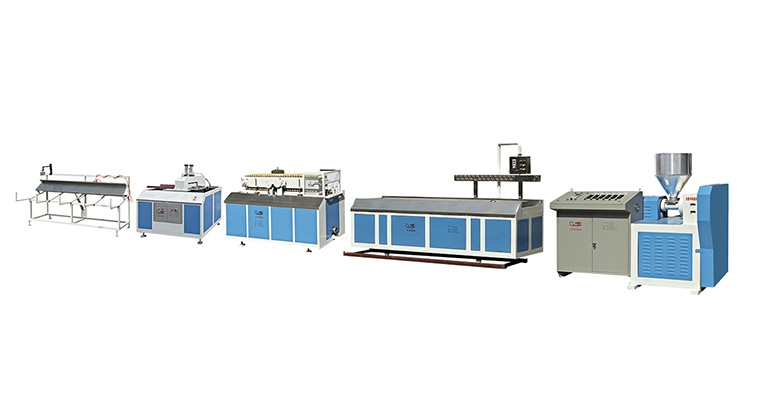 SJ Series of PVC/PS/PE Single-screw Plastic Profiles Extrusion Line